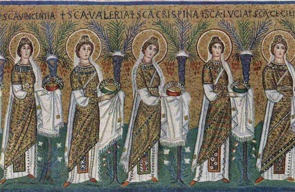 Святые мученицы. Мозаика. VI век. Базилика Сант-Аполлинаре-Нуово, Равенна, Италия: