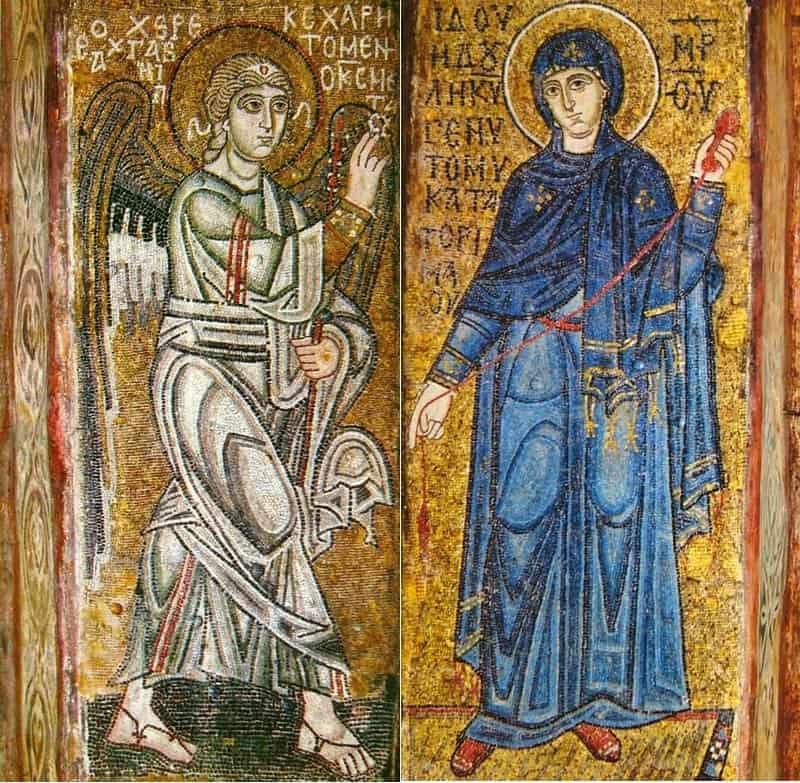 Мозаика «Благовещение» на столбах предалтарной арки Софии Киевской (XI век)