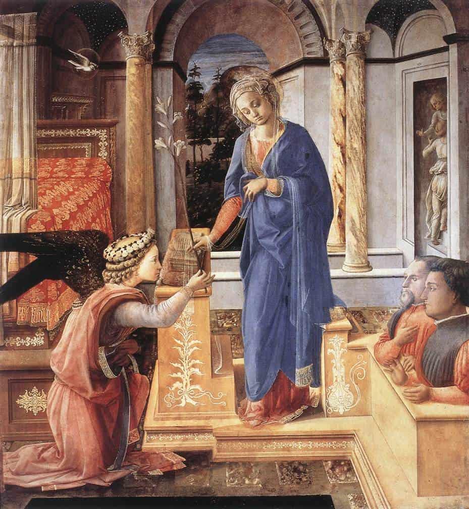 Благовещение с двумя коленопреклоненными донаторами. 1440 г.Фра Филиппо Липпи. Национальная галерея античного искусства, Рим. Масло.