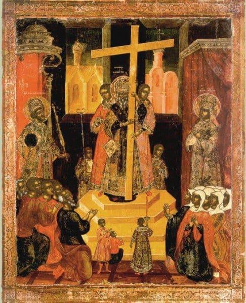 Икона праздника Воздвижения Креста Господня. 18 век.