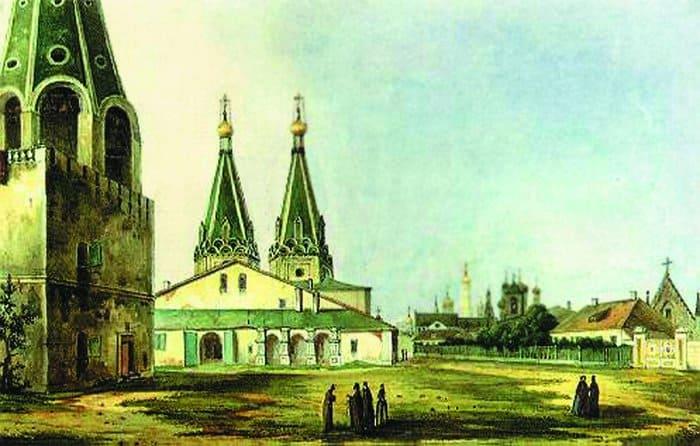 Свято–Алексеевский монастырь, на месте которого позднее и был построен храм Христа Спасителя. Картина Карла Рабуса, 1838 г