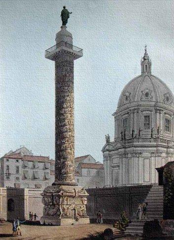 Колонна Траяна в Риме. Изначально колона Траяна <br>была увенчана золотым римским орлом, <br>а после смерти императора на ней была установлена<br> его статуя. В 1588 году по приказу <br>папы Сикста Пятого на колоне была установлена<br> статуя апостола Петра, венчающая колону и по сей день