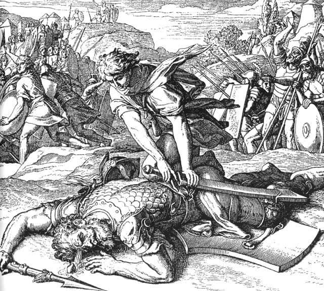 Юлиус Шнор фон Каросфельд. Победа Давида над Голиафом. 1860 г.