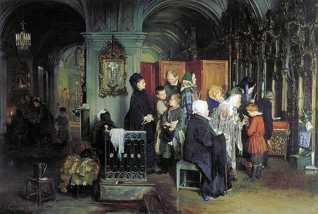 А.И. Корзухин. Перед исповедью. 1877 год
