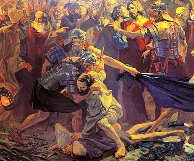 На фрагменте картины Павла Попова «Поцелуй Иуды» – момент, когда апостол Петр отсекает ухо «первосвященникову рабу» по имени Малх, одному из участников ночного ареста Иисуса Христа