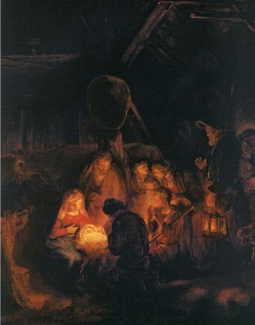 Поклонение пастухов.  Рембрандт Харменс ван Рейн. 1646