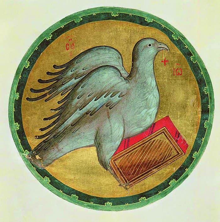 Евангелист Иоанн вобразе орла. Рублев. XIV в.