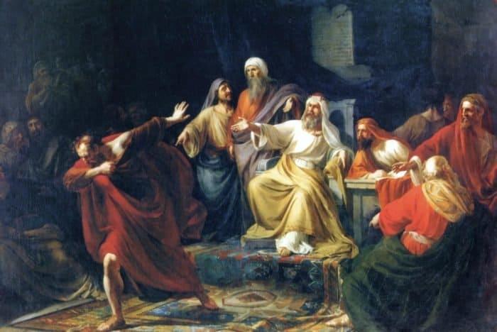 Иуда Искариот, бросающий серебреник. Платон Васильевич Васильев (1830-1865). 1858 г.