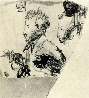 А. С. Пушкин. Набросок Гоголя. Из письма Гоголя к историку Михаилу Погодину (1800–1875) после гибели поэта: «Моя жизнь, мое высшее наслаждение умерло с ним. Мои светлые минуты моей жизни были минуты, в которые я творил. Когда я творил, я видел перед собою только Пушкина».