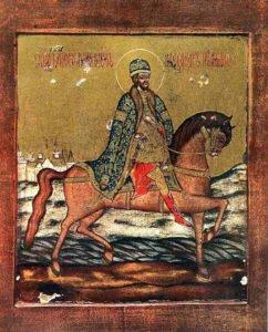 Святой благоверный князь Александр Невский. Икона XVIII в.