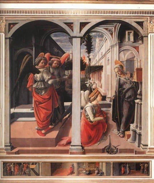 Благовещение. 1445 г.Фра Филиппо Липпи. церковь Сан Лоренцо, Флоренция.