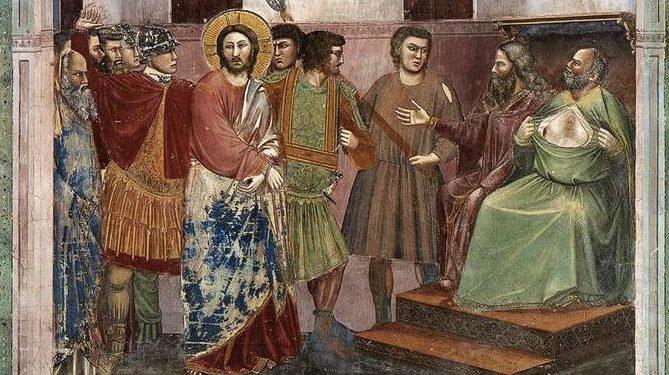 Джото. Христос перед Каиафой