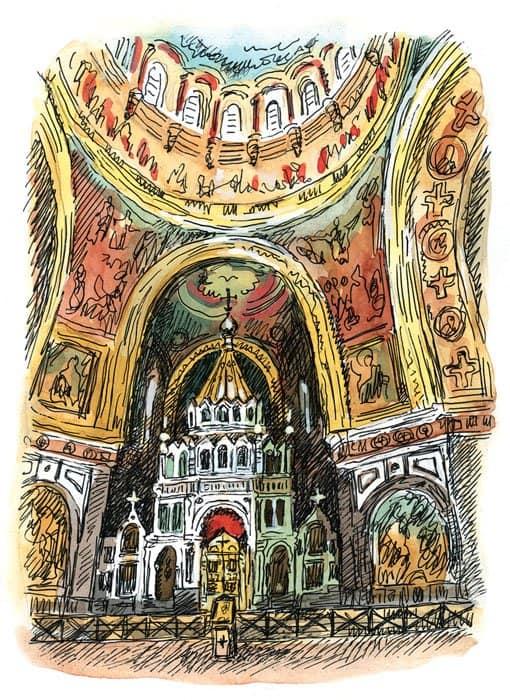 центральная часть храма Христа Спасителя с алтарем в виде шатра, свернутого в круговой восьмигранник