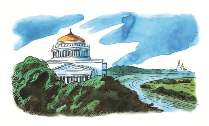 Так по проекту А. Л. Витберга должен был выглядеть храм Христа Спасителя на Воробьевых горах