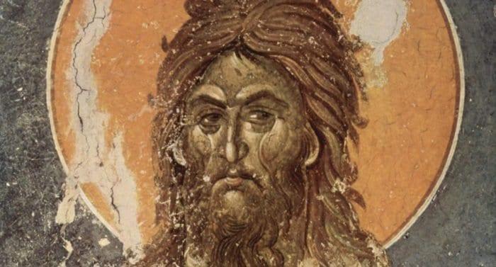 Иоанн Креститель.Православная фреска монастырь Грачаница