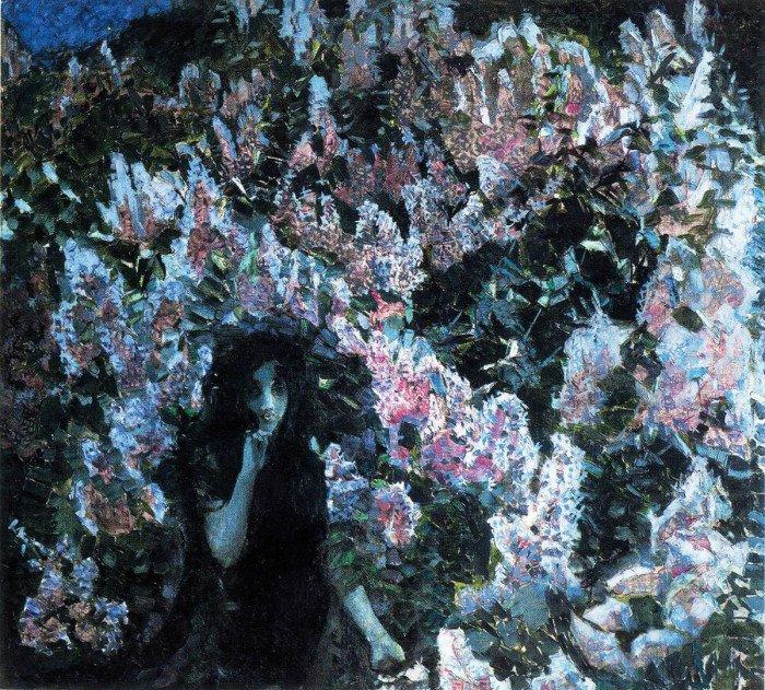 Сирень. 1900 Разгар «демонического периода» Врубеля. Даже нежные цветы затягивают зрителя вворонку, в душный лиловый сумрак.