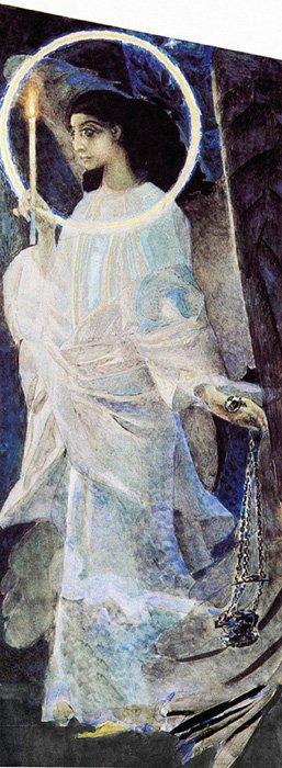 Ангел скадилом исо свечой. Эскиз кросписи Владимирского собора вКиеве. 1887