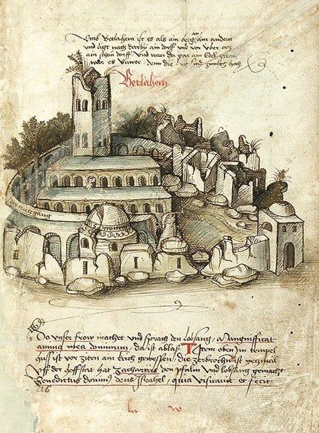 Базилика Рождества Христова на рисунке 1487 года