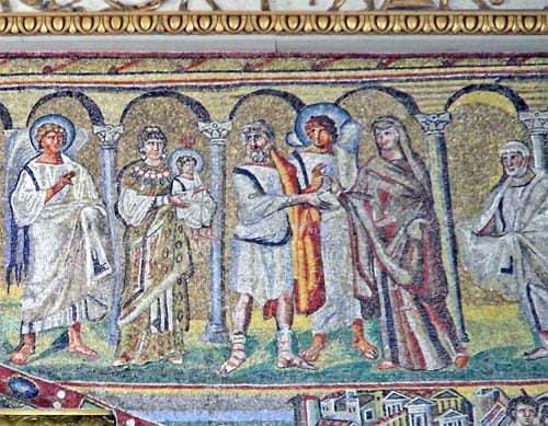 Сретение. Мозаика церкви Санта-Мария Маджоре в Риме. V век