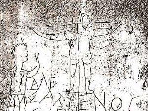 Карикатура на первых христиан, сделанная кем-то из римских воинов-язычников (найдена на Палатинском холме ). Рисунок служит явным подтверждением использования в раннем христианстве символа креста.