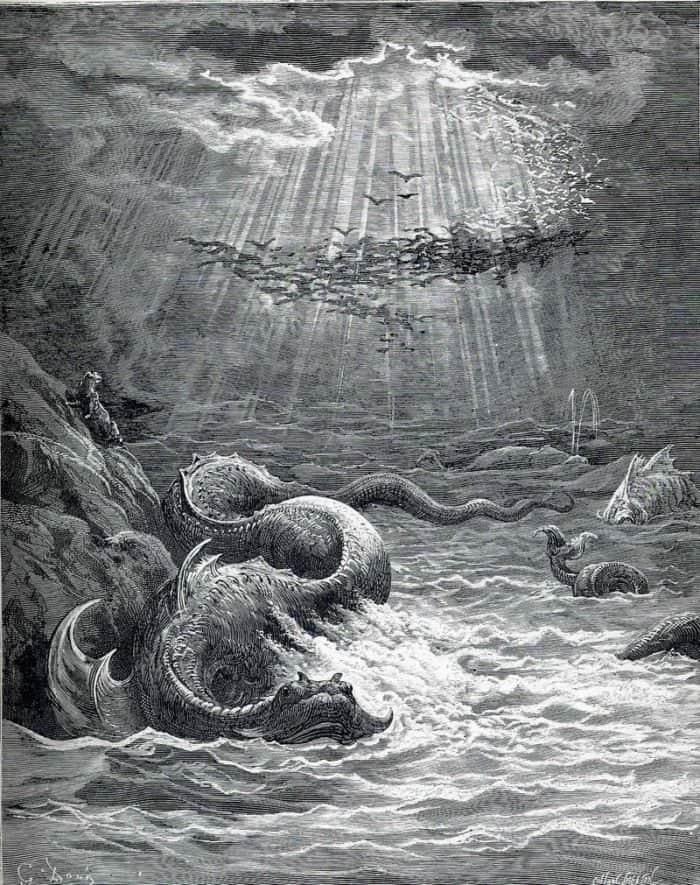 """Сотворение рыб и птиц. Иллюстрация к поэме Джона Мильтона """"Потерянный рай"""" - Гюстав Доре"""