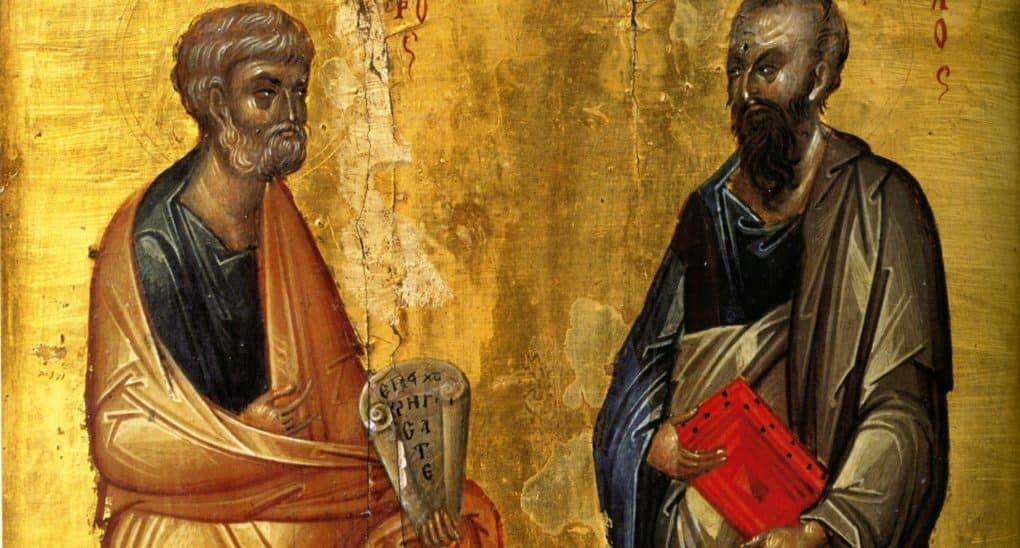 Апостолы Петр и Павел; Византия; XIV в.; местонахождение: Египет. Синай, монастырь св. Екатерины. Источник: www.ruicon.ru