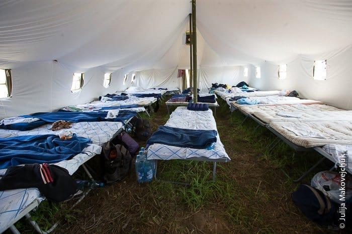 лагерь, паломники