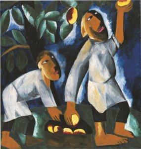 Крестьяне, собирающие яблоки. 1911