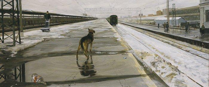 Вокзал. Эскиз композиции. Без указания авторства. 2 курс. 1999