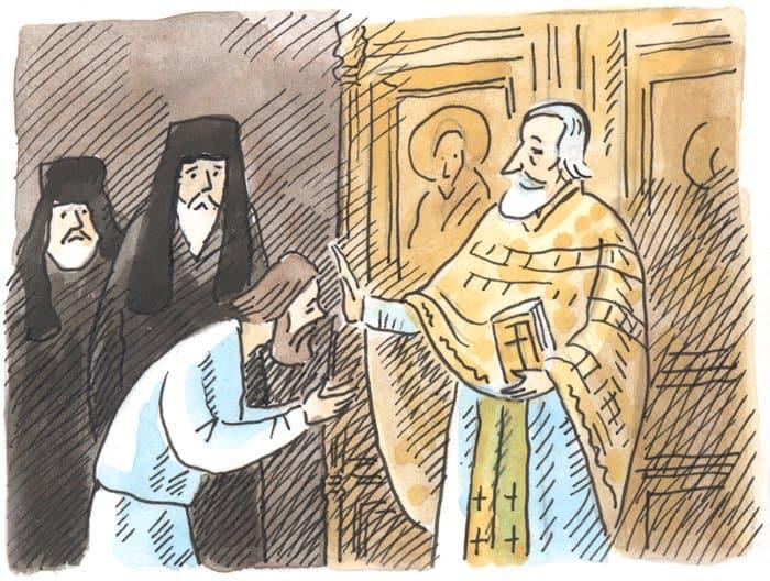 В 1786 году Прохор был пострижен в иноки и получил имя Серафим. В 34 года он стал священником. Будущий святой построил себе келью в глухом лесу и проводил все время в трудах и молитве.