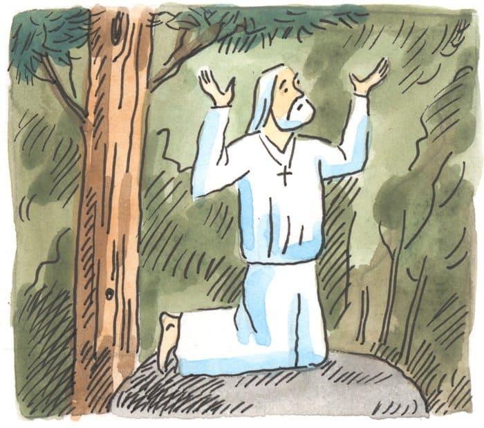 Оправившись от страшного удара, старец освоил новую форму подвига – молчание. Он тысячу ночей провел на небольшом валуне под сосенкой, молясь Богу с воздетыми руками.