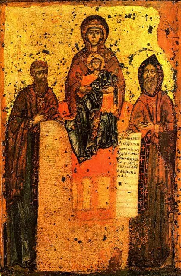Древнейшее изображение преп. Антония и Феодосия Печерских. Свенская икона Богоматери около 1288 года.