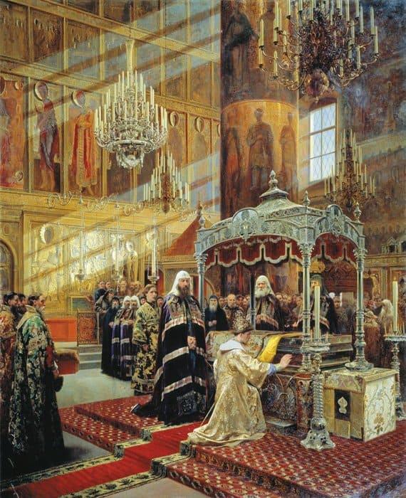 Алексей Михайлович и патриарх Никон перед гробницей святителя Филиппа. А. Д. Литовченко (1835-1890)