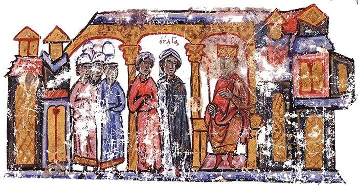Княгиня Ольга посещает Константина VII Багрянородного.Книжная миниатюра. Византия, XII в.