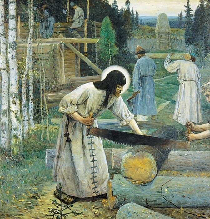 Труды преподобного Сергия. М.В. Нестеров.  Центральная часть триптиха, 1896