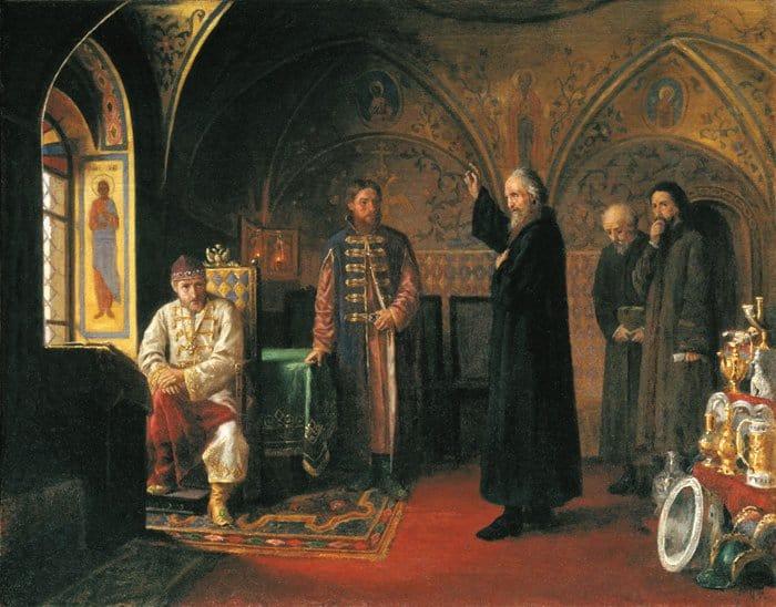 Митрополит Филипп обличает Ивана  Грозного.  Я. П. Турлыгин (1857-1909)