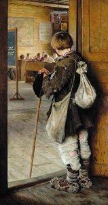 У дверей школы. Н. П. Богданов-Бельский. 1897