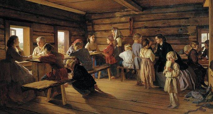 Сельская бесплатная школа. А. И. Морозов. 1872