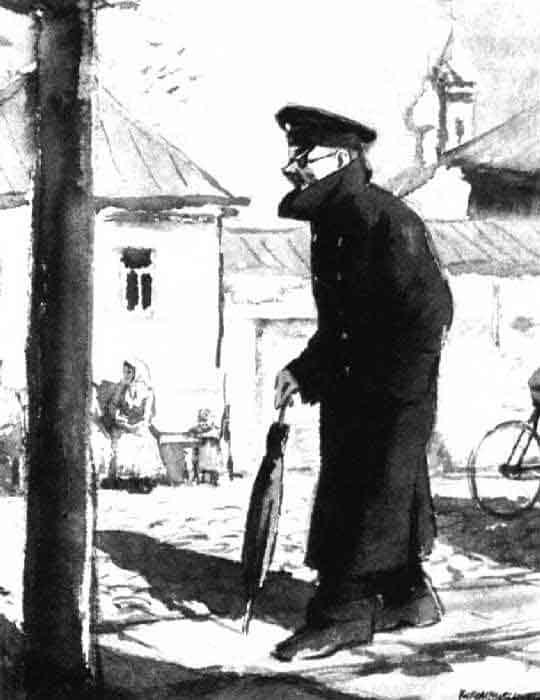 """Иллюстрация к рассказу А. Чехова """"Человек в футляре"""". Кукрыниксы. 1941"""