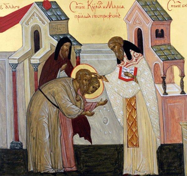 Святые Кирилл иМария прияша пострижение