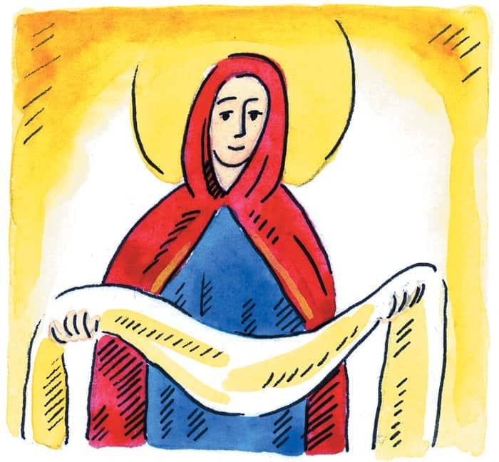 Богородица стала молиться о снисхождении к христианам, которым угрожали разорение и гибель. Затем она сняла с себя огненный Покров, блиставший подобно молниям, и распростерла над молящимися в храме. Через некоторое время сама Богородица и ее Покров сделались невидимыми, но благодать, исходившая от них, осталась в городе.