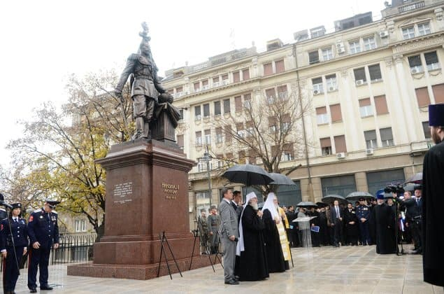 Патриарх освятил памятник Николаю II в Сербии