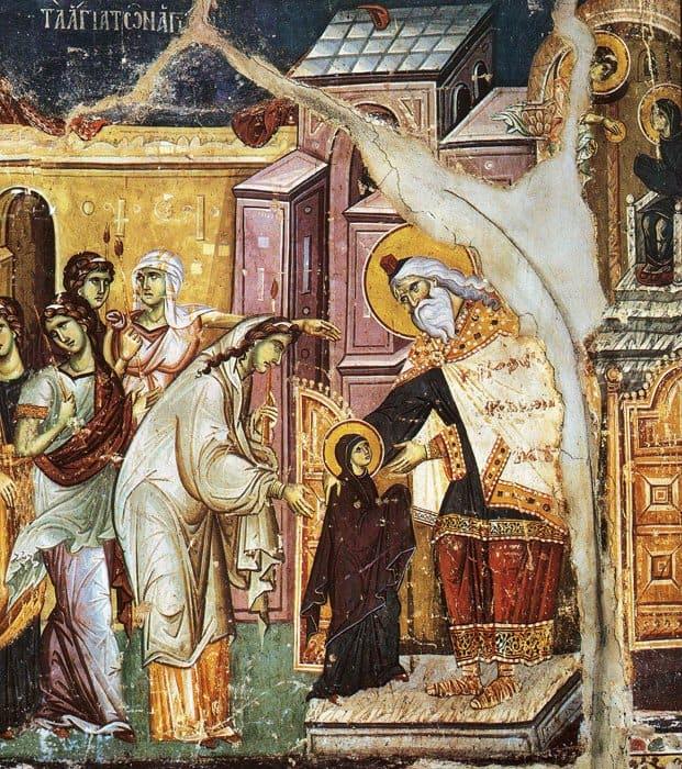 Введение во храм Пресвятой Богородицы. Фрагмент. Мануил Панселин, Византия, XIII в.