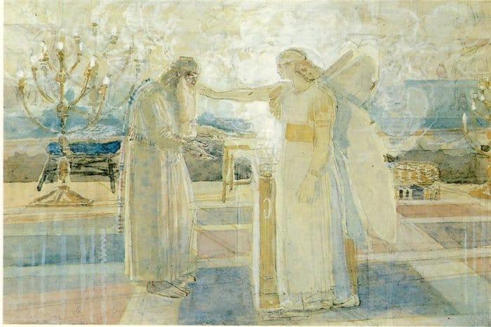 Архангел Гавриил поражает Захарию немотой. Александр Иванов, 1840-е г.