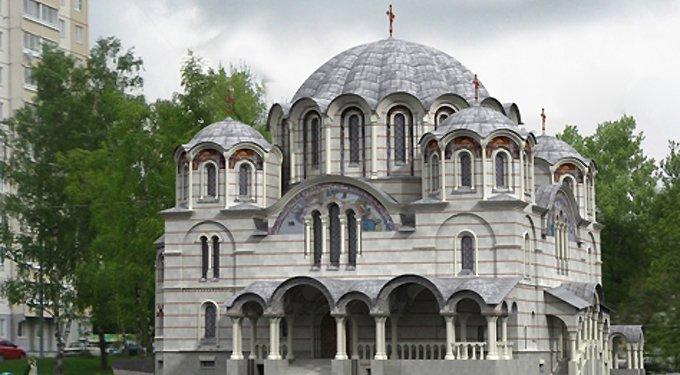 Храм в Некрасовке украсил уникальный крест с подсветкой