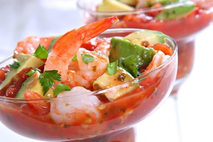 Cocktail Shrimp with Avocado Salsa Sauce
