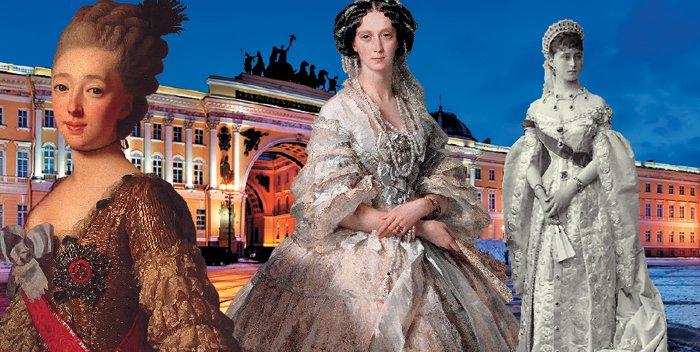 Слева направо: Великая княгиня Наталья Алексеевна, императрица Мария Александровна, великая княгиня Елизавета Федоровна