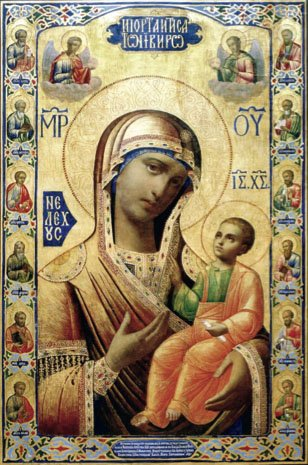Иверская икона, находящаяся в Серпуховском Пречистыя Богородицы Высоцком мужском монастыре.