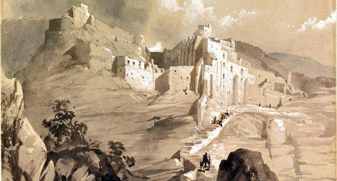 Монастырь св. Саввы. Рисунок Луизы Тенисон. Середина XIX в.