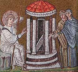 Благовещение. Рельеф саркофага из церкви Сан-Франческо в Равенне, II–III вв.